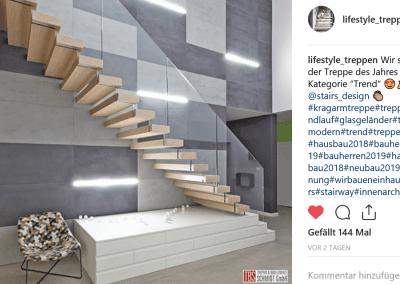 Instagram Post Treppe des Jahres der Firma TBS Schmidt GmbH