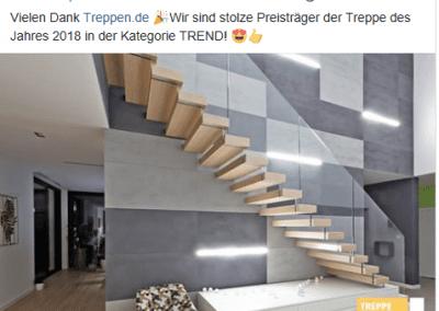 Facebook Post Treppe des Jahres der Firma TBS Schmidt GmbH