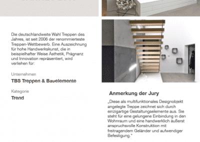 Urkunde Treppe des Jahres der Firma TBS Schmidt GmbH